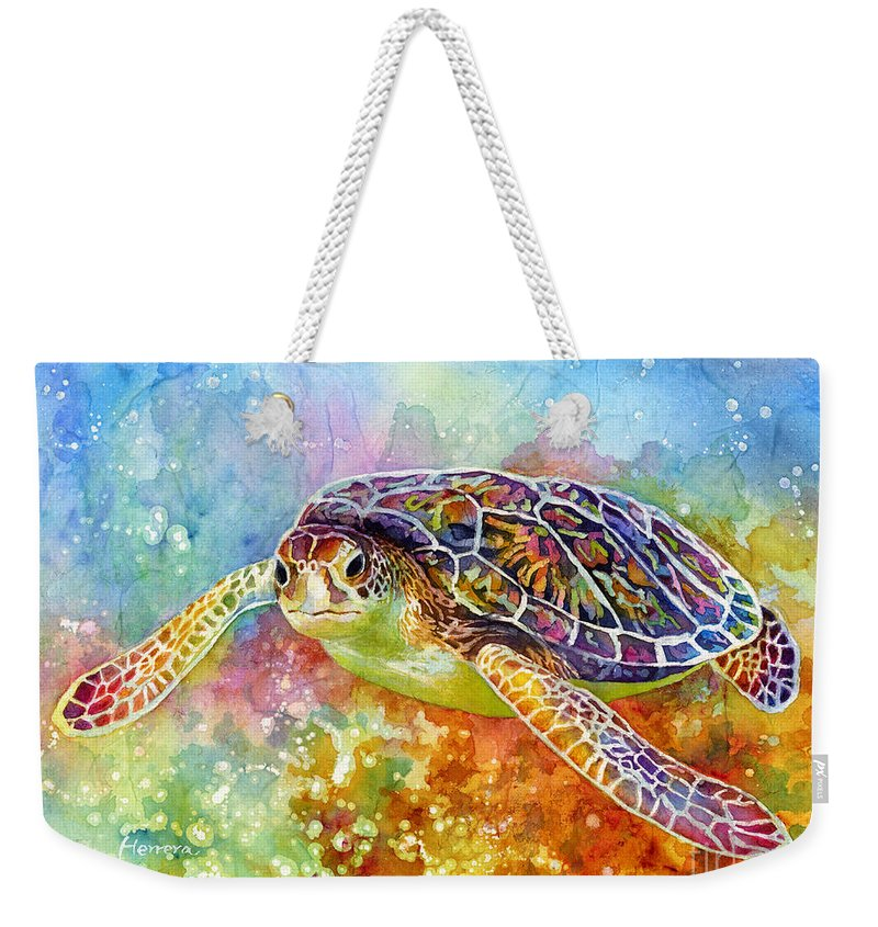 Turtle Weekender Tote Bag featuring the painting Sea Turtle 3 by Hailey E Herrera