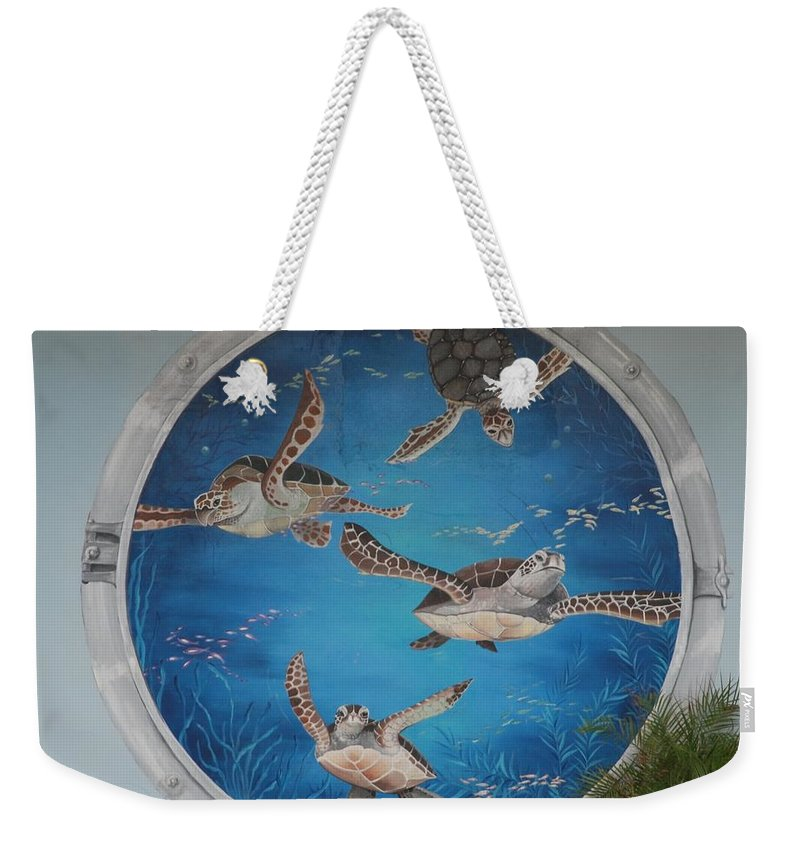 Sea Turtles Weekender Tote Bag featuring the photograph Sea Turtles by Rob Hans