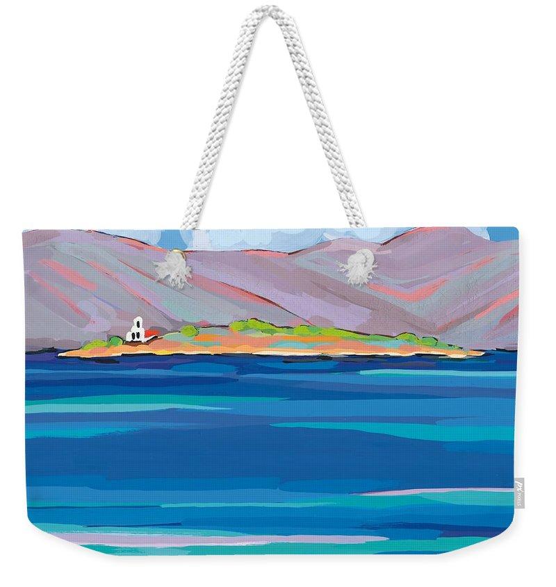 Coastal Weekender Tote Bag featuring the painting Sea View Galaxidhi by Sarah Gillard