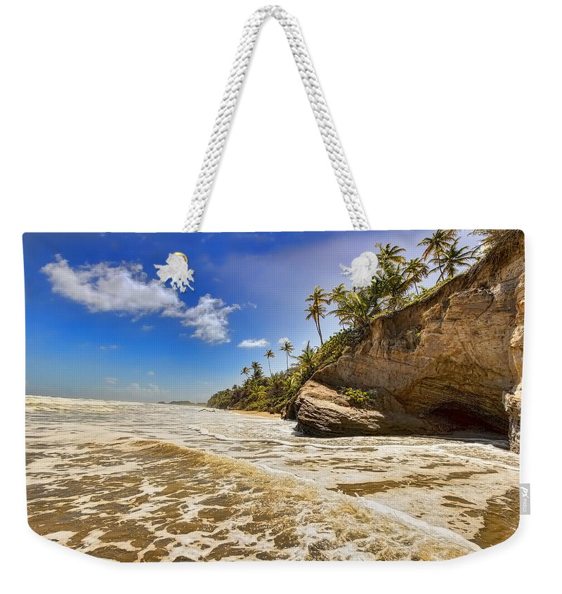Trinidad Weekender Tote Bag featuring the photograph Sea Waves by Nadia Sanowar