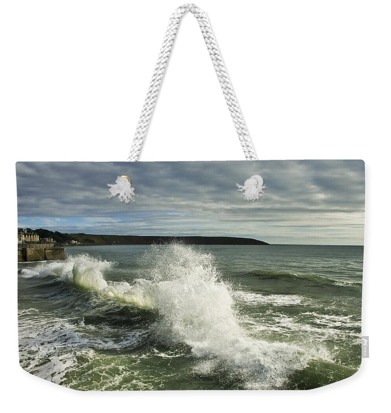 Aqua Weekender Tote Bag featuring the photograph Sea Waves2 by Svetlana Sewell