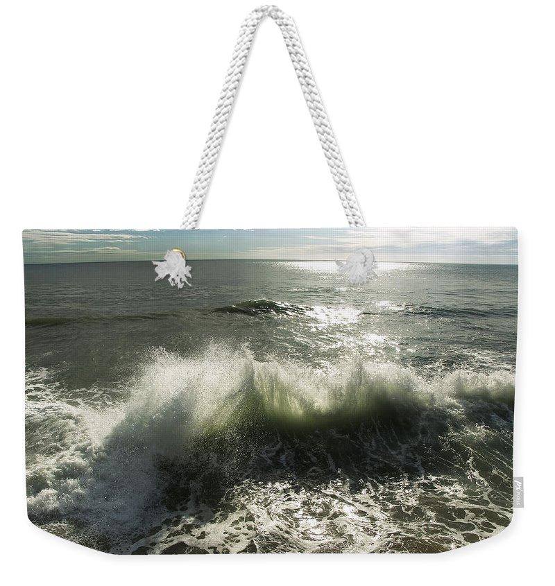 Aqua Weekender Tote Bag featuring the photograph Sea Waves3 by Svetlana Sewell