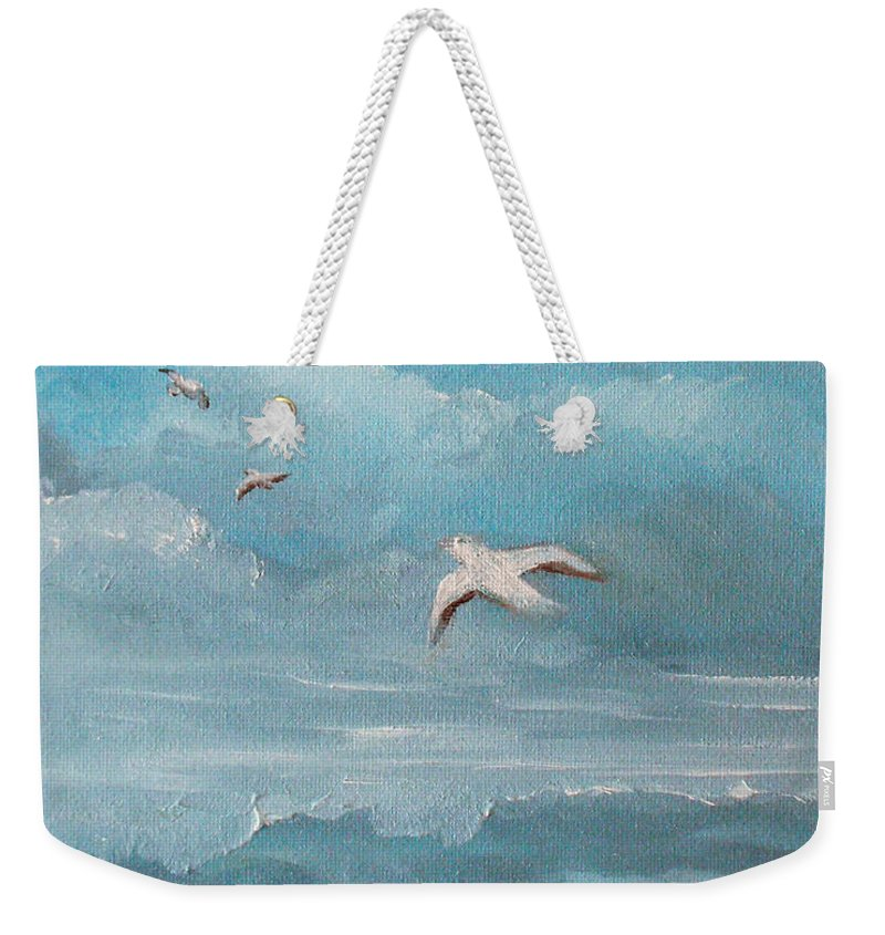 Seascape Weekender Tote Bag featuring the painting Seabirds by Catherine Sprague