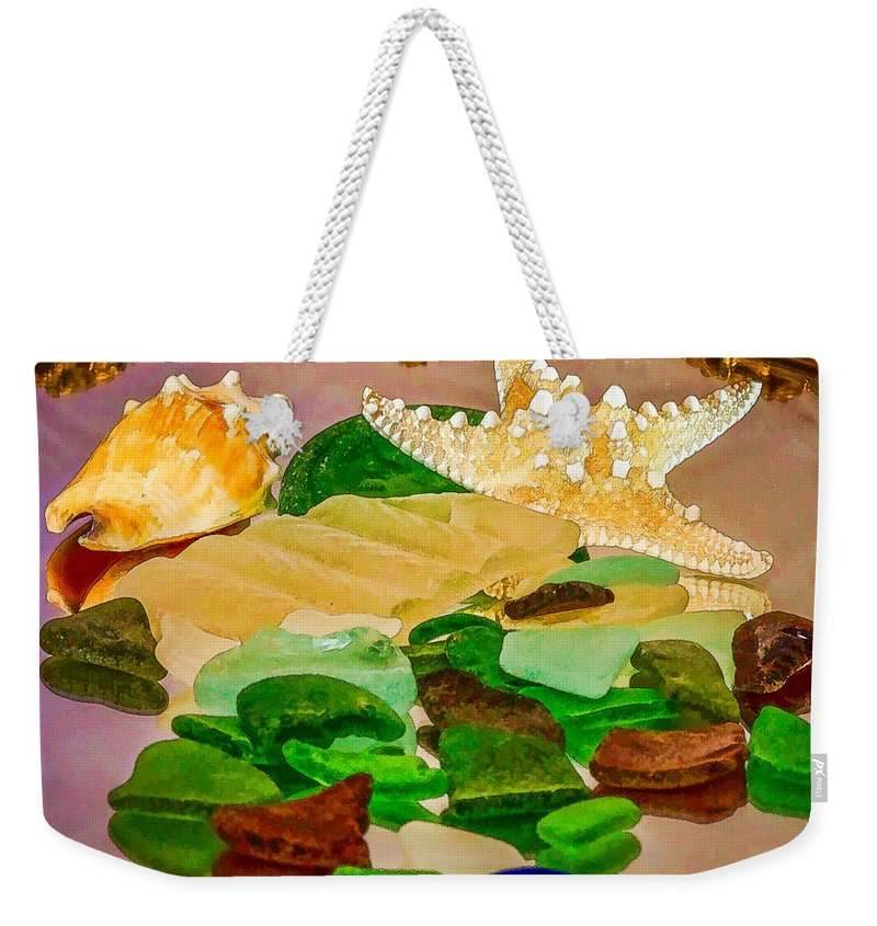 Starfish Weekender Tote Bag featuring the photograph Seaglass - New Perspective by Mary Koenig Godfrey