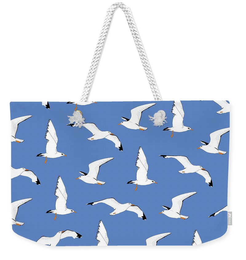 Seagulls Weekender Tote Bag featuring the digital art Seagulls Gathering At The Cricket by Elizabeth Tuck