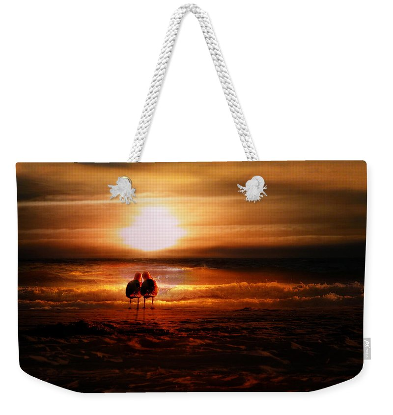 Sunrise Weekender Tote Bag featuring the digital art Seagulls On The Beach by Gravityx9 Designs