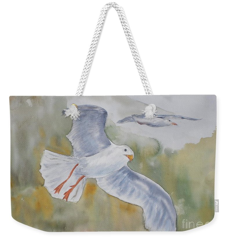 Souring Weekender Tote Bag featuring the painting Seagulls Over Glacier Bay by Vicki Housel
