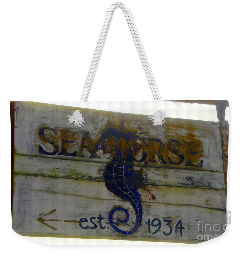 Seahorse Weekender Tote Bag featuring the painting Seahorse Est. 1934 by David Lee Thompson