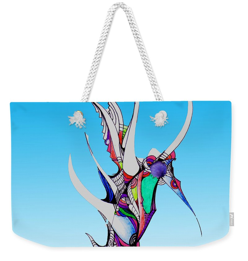 Seahorse Weekender Tote Bag featuring the drawing Seahorse by Jean Habeck