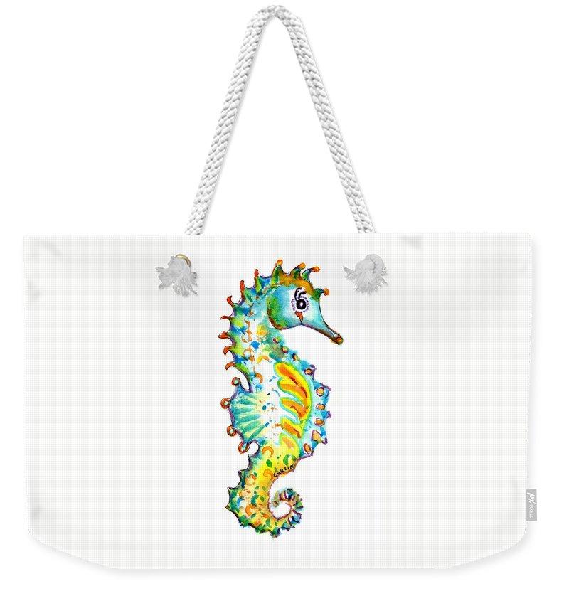 Seahorse Weekender Tote Bag featuring the painting Seahorse Watercolor by Carlin Blahnik CarlinArtWatercolor