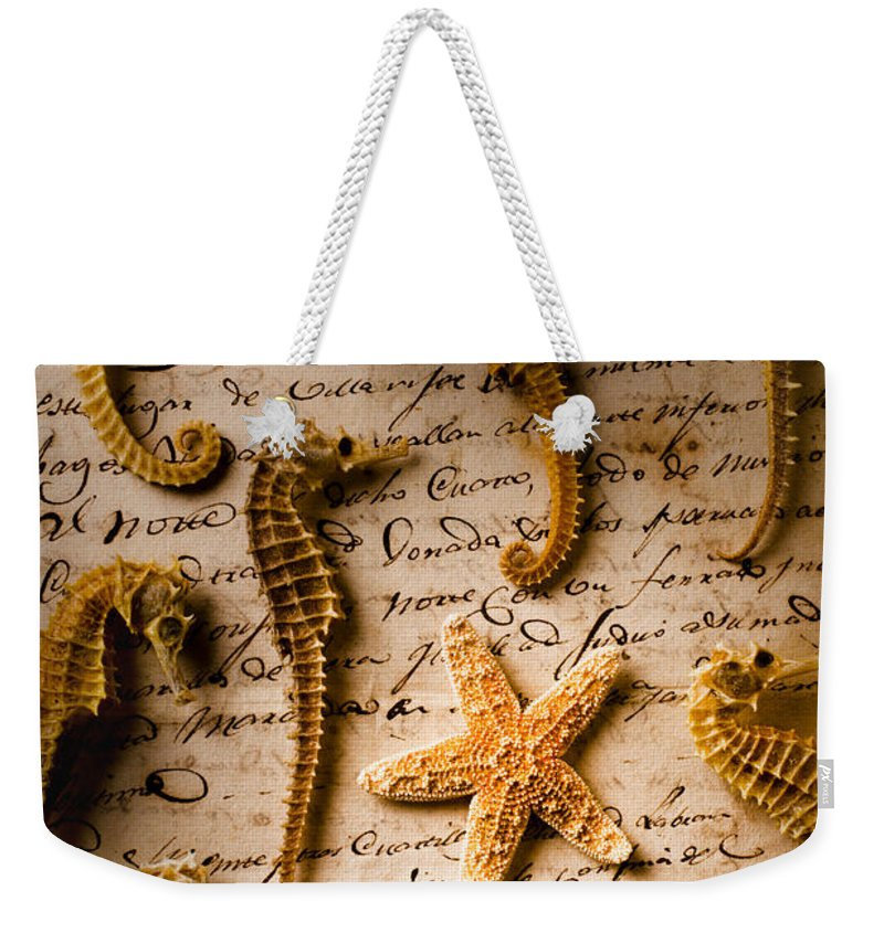 Seahorses Starfish Old Letter Words Weekender Tote Bag featuring the photograph Seahorses And Starfish On Old Letter by Garry Gay