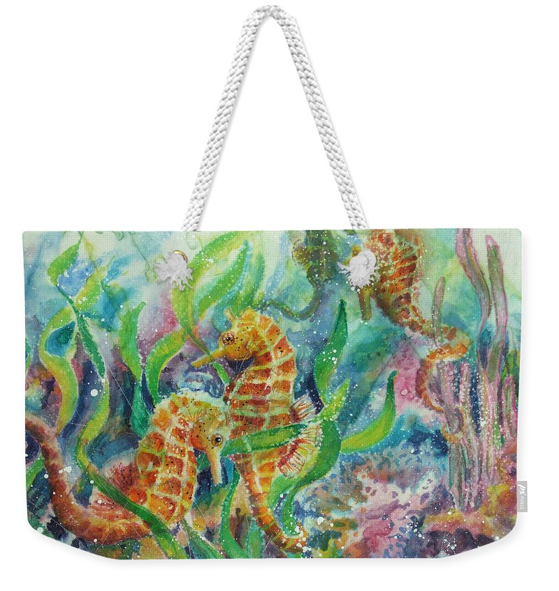 Seahorse Weekender Tote Bag featuring the painting Seahorses Three by Deborah Younglao