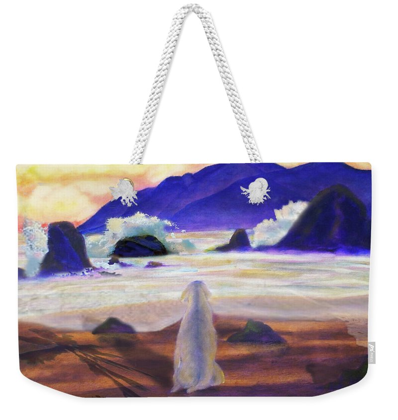 Dog Weekender Tote Bag featuring the painting Sea Dog by Larry Rice