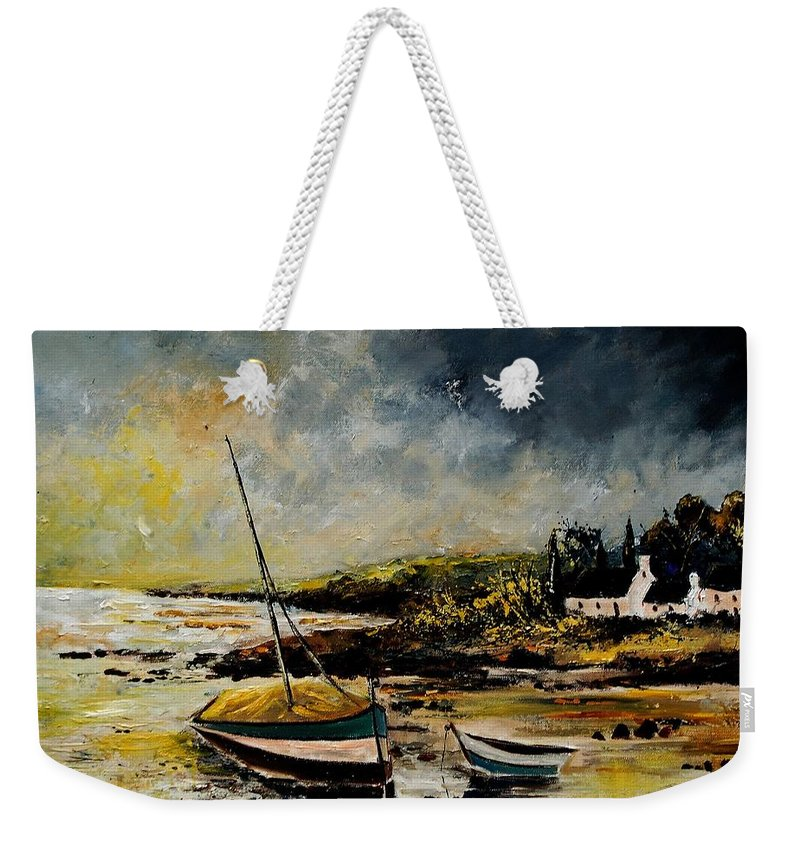 Sea Weekender Tote Bag featuring the painting Seascape 452654 by Pol Ledent