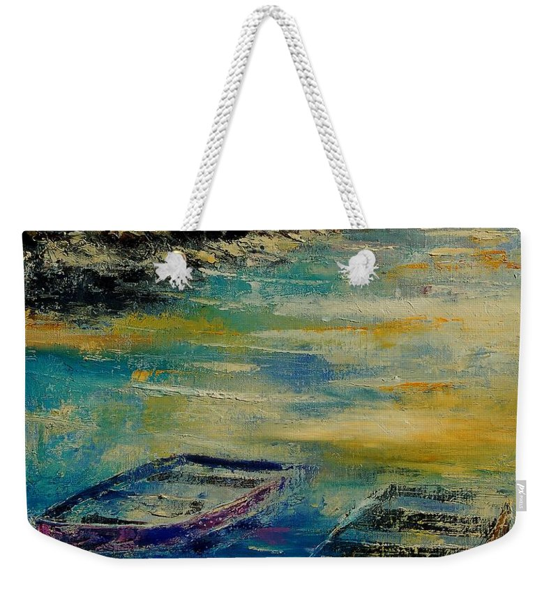 Sea Weekender Tote Bag featuring the painting Seascape 5614569 by Pol Ledent
