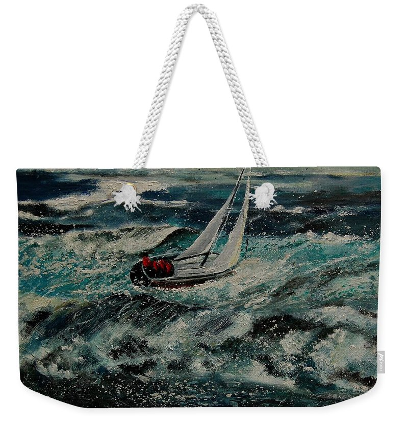 Sea Weekender Tote Bag featuring the painting Seascape 97 by Pol Ledent