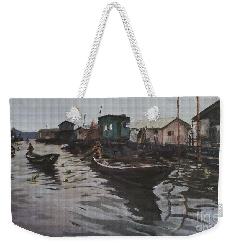 Seascape Weekender Tote Bag featuring the painting Seascape by Azeez Iyanuoluwa Ogunyemi