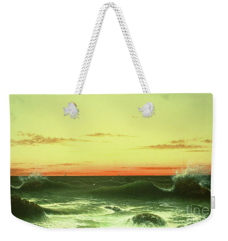 Seascape: Sunset Weekender Tote Bag featuring the painting Seascape Sunset 1861 by Martin Johnson Heade