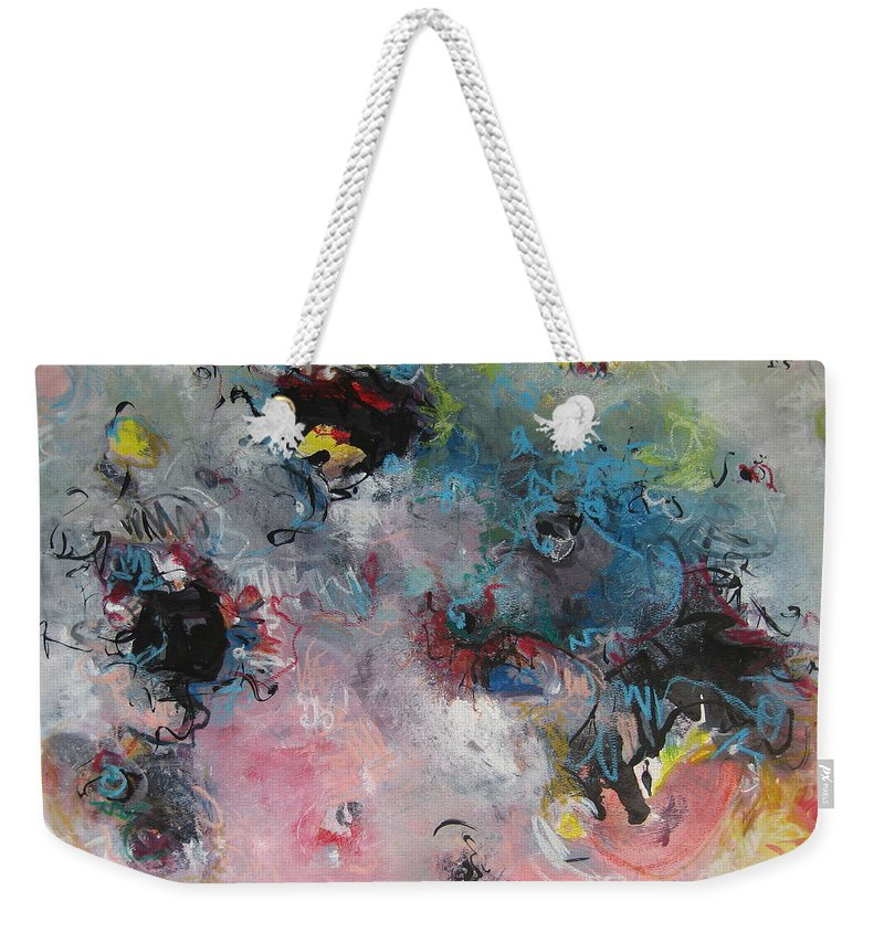 Blue Paintings Weekender Tote Bag featuring the painting Seascape111 by Seon-Jeong Kim