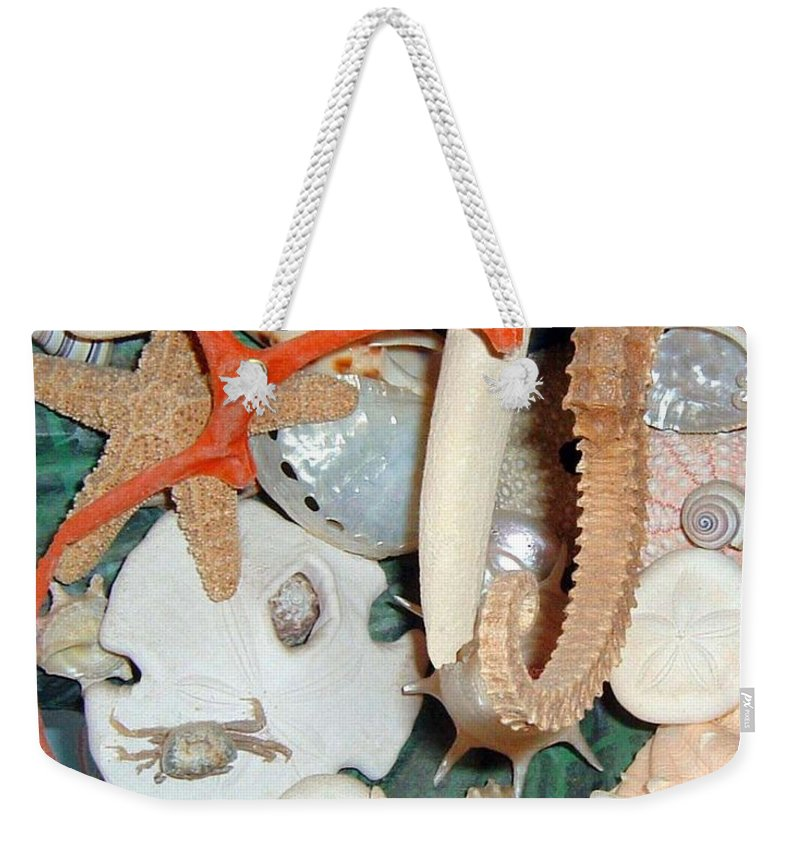 Seashells Weekender Tote Bag featuring the pyrography Seashell Crazy by Cheryl Ehlers
