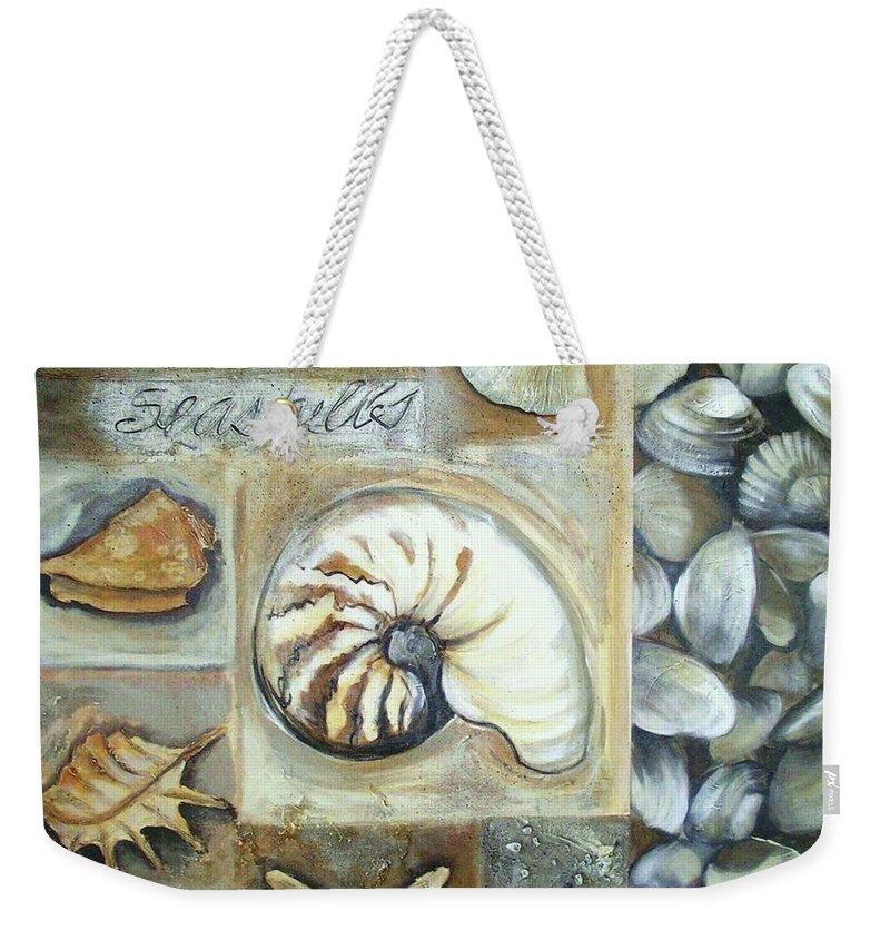 Collage Weekender Tote Bag featuring the painting Seashells by Chris Hobel