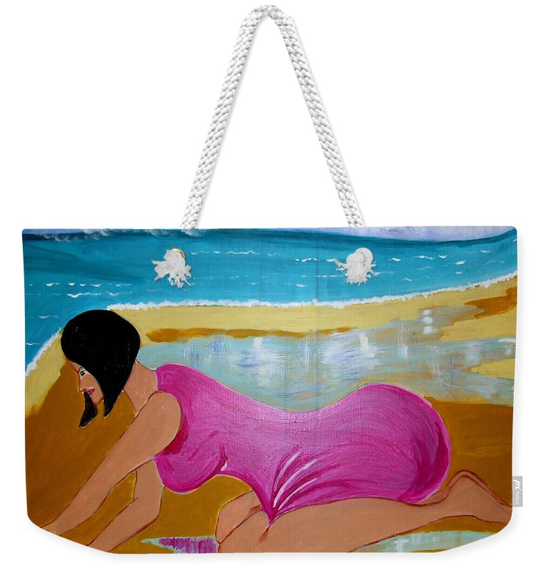 Dreams Weekender Tote Bag featuring the painting Seashells by Rusty Gladdish