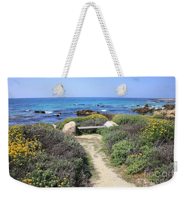 Landscape Weekender Tote Bag featuring the photograph Seaside Bench by Carol Groenen