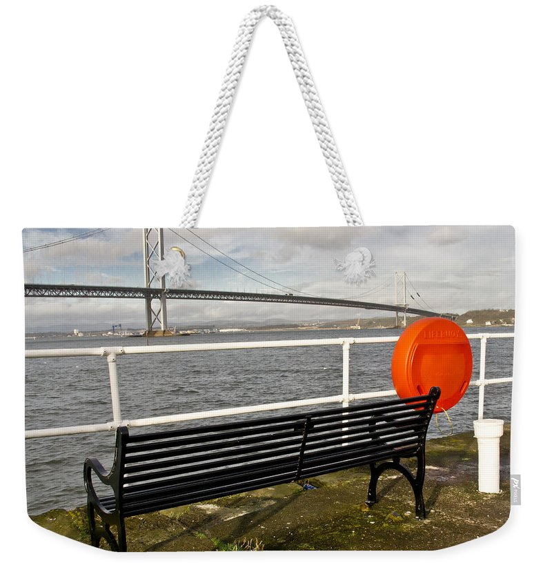 Bench Weekender Tote Bag featuring the photograph Seaside Bench by Elena Perelman