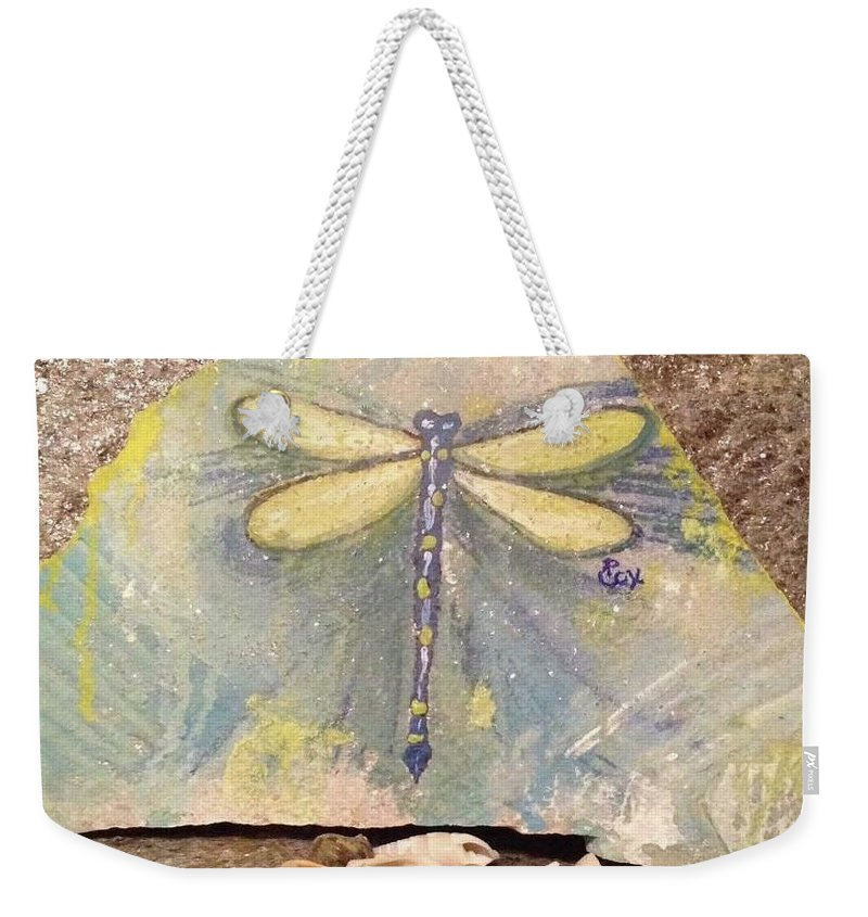 Dragonfly Beach Sea Ocean Sand Pastel Aqua Blue Shells Weekender Tote Bag featuring the painting Seaside Dragonfly by Paula Cox