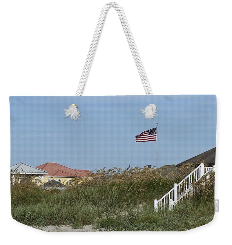 Ocean Weekender Tote Bag featuring the photograph Seaside Patriotism by Teresa Mucha