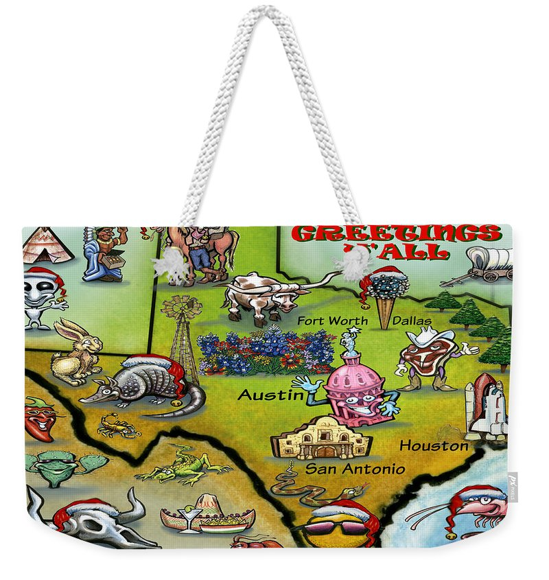 Texas Weekender Tote Bag featuring the greeting card Seasons Greeting Y by Kevin Middleton