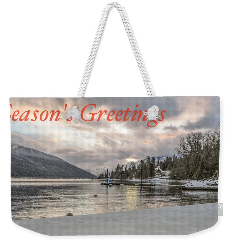 Christmas Card Weekender Tote Bag featuring the photograph Season's Greetings- Cabin On The Lake by Joy McAdams