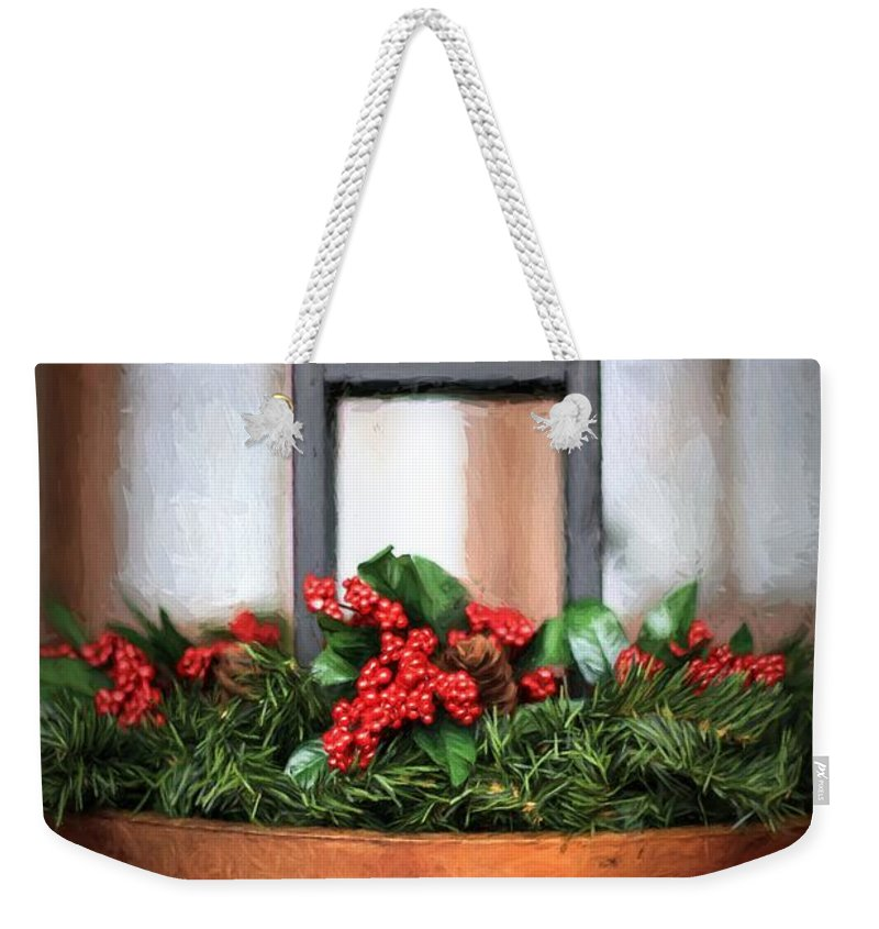 Holly Berries Weekender Tote Bag featuring the photograph Seasons Greetings Christmas Centerpiece by Shelley Neff
