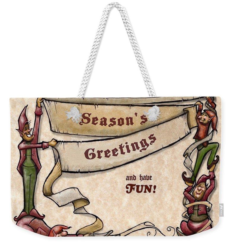 Season's Greetings Weekender Tote Bag featuring the digital art Season's Greetings by Kevin Middleton