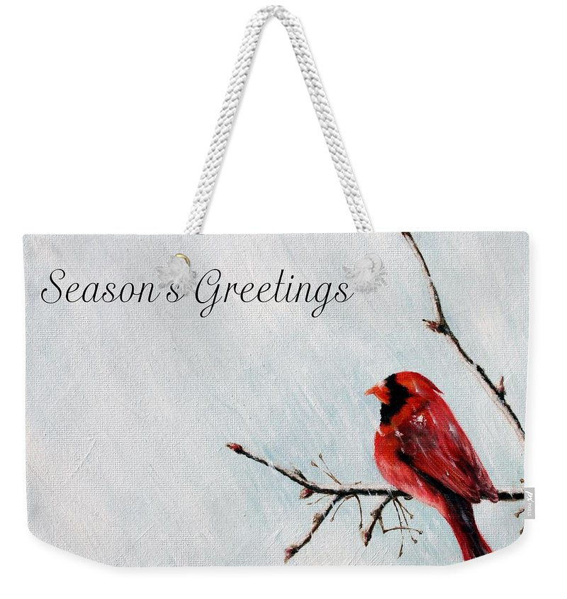 Cardinal Weekender Tote Bag featuring the painting Seasons Greetings by Marna Edwards Flavell