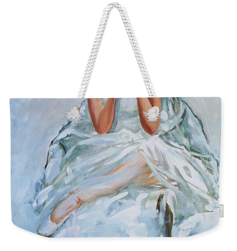 Figurative Weekender Tote Bag featuring the painting Seated Dancer by Rick Nederlof