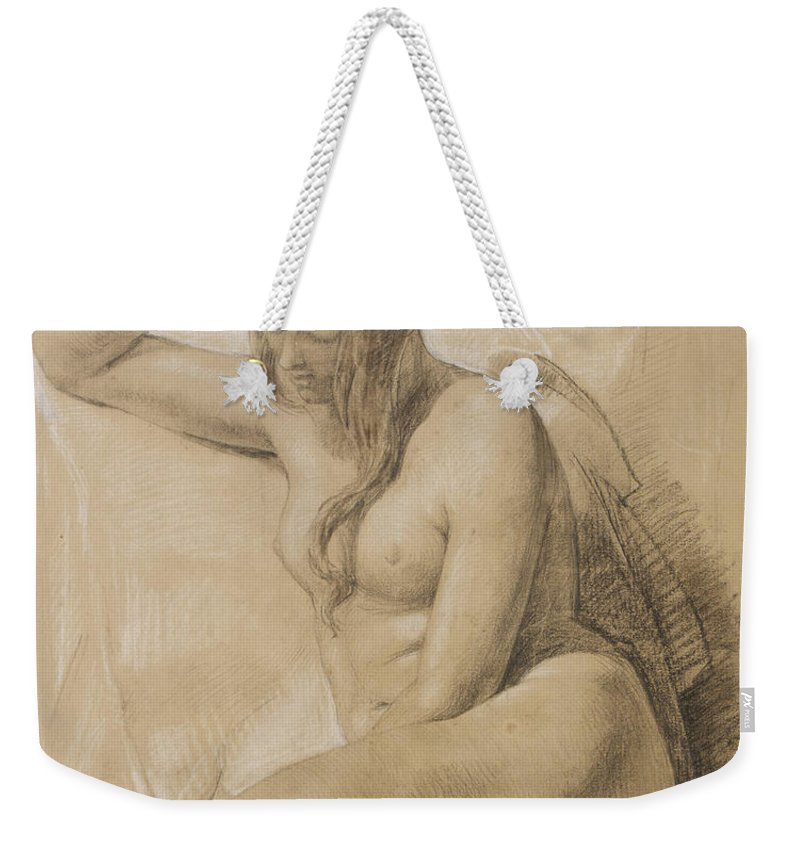 Nude Weekender Tote Bag featuring the drawing Seated Female Nude by Sir John Everett Millais