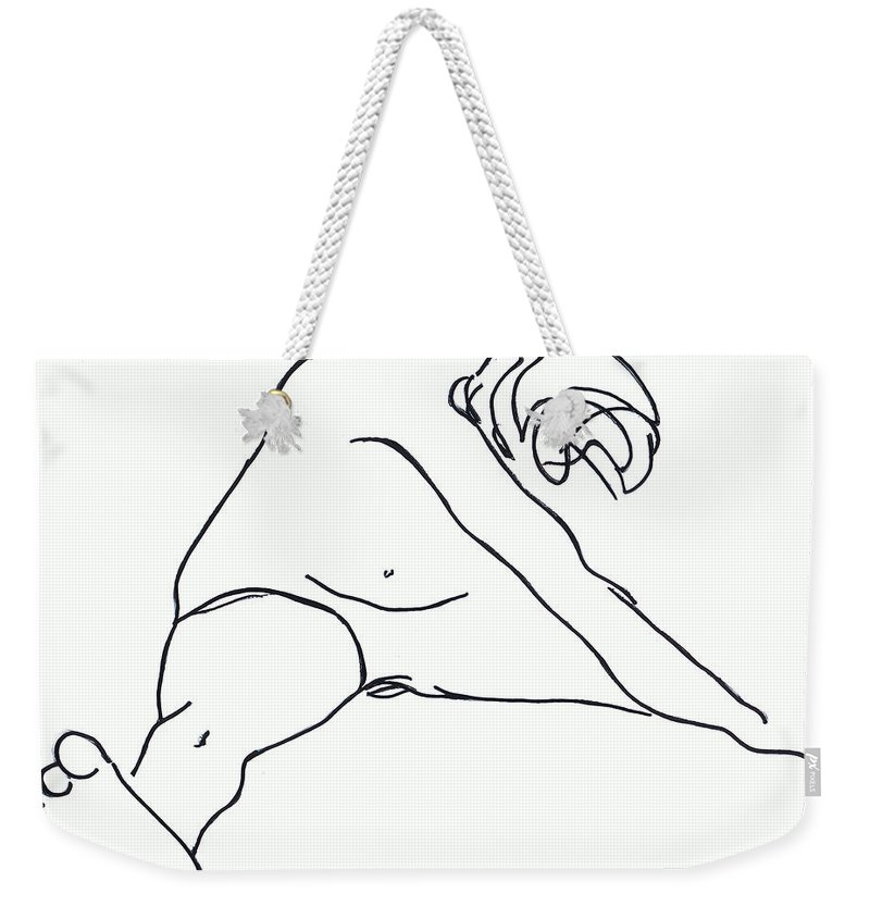 Figure Weekender Tote Bag featuring the drawing Seated Figure by Nancy Mueller