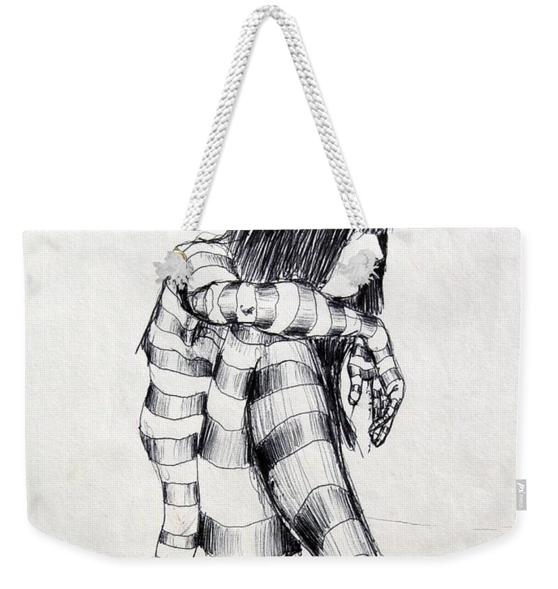 Ink Drawing Weekender Tote Bag featuring the drawing Seated Striped Nude by Ron Bissett