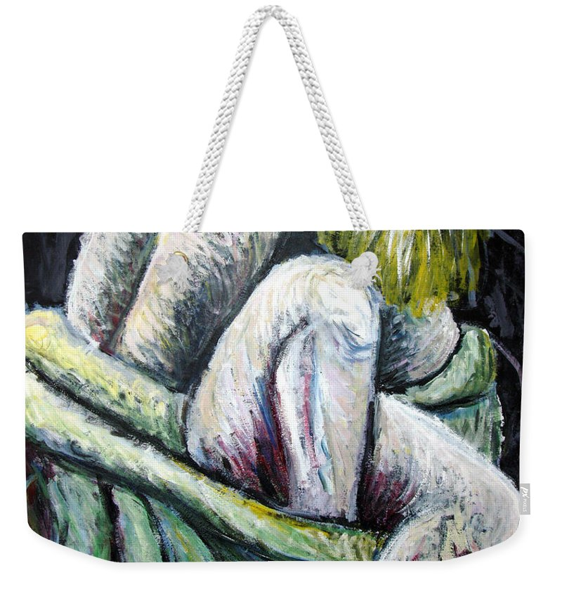 Woman Weekender Tote Bag featuring the painting Seated Woman Abstract by Nancy Mueller