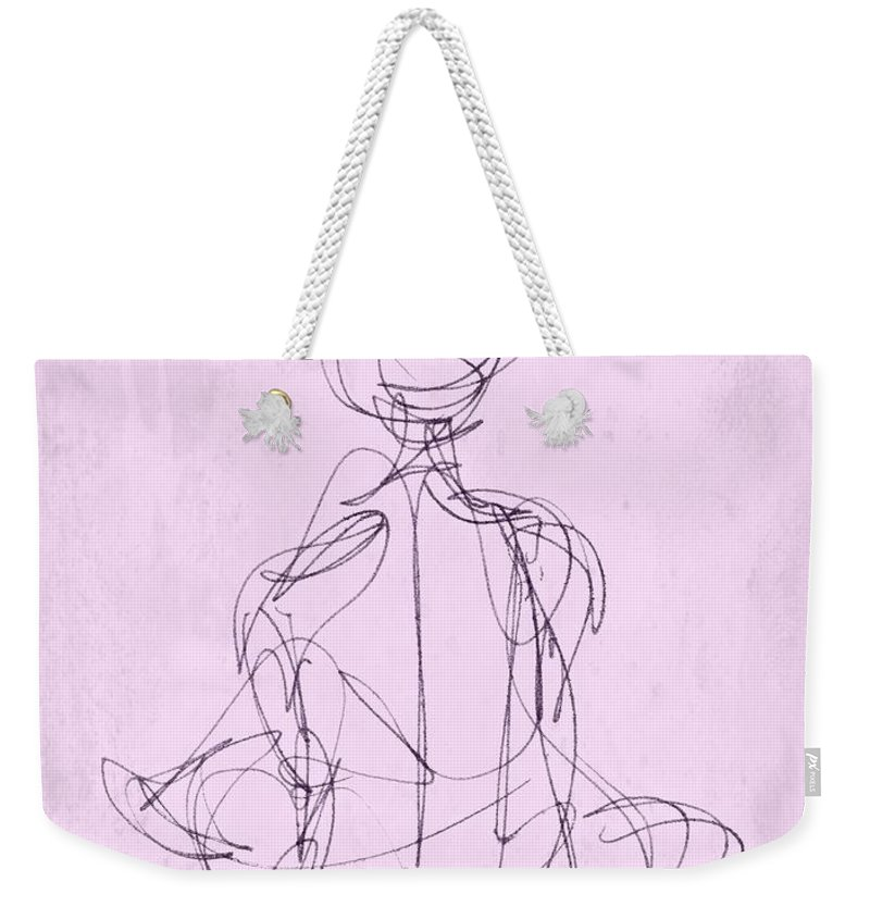 Woman Weekender Tote Bag featuring the drawing Seated Woman by Valerie Reeves