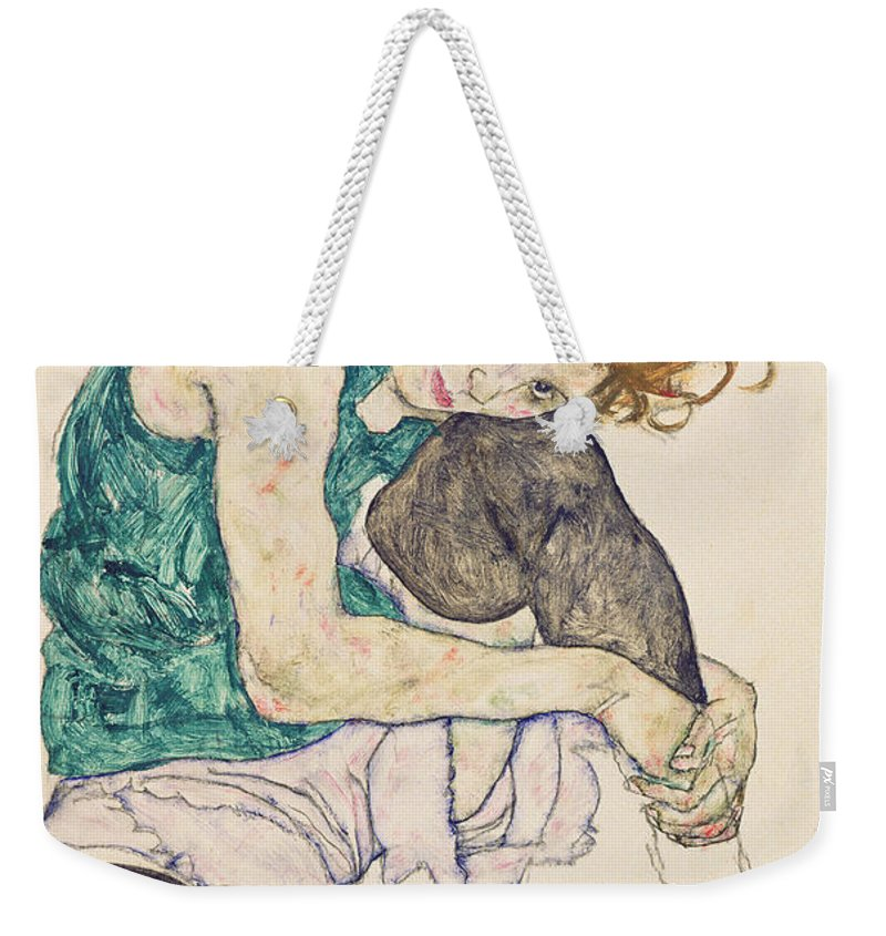 Egon Schiele Weekender Tote Bag featuring the painting Seated Woman with Bent Knee by Egon Schiele