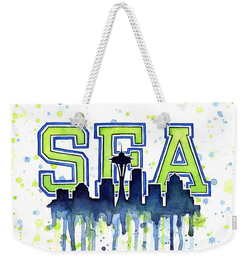 Watercolor Weekender Tote Bag featuring the painting Seattle Watercolor 12th Man Art Painting Space Needle Go Seahawks by Olga Shvartsur