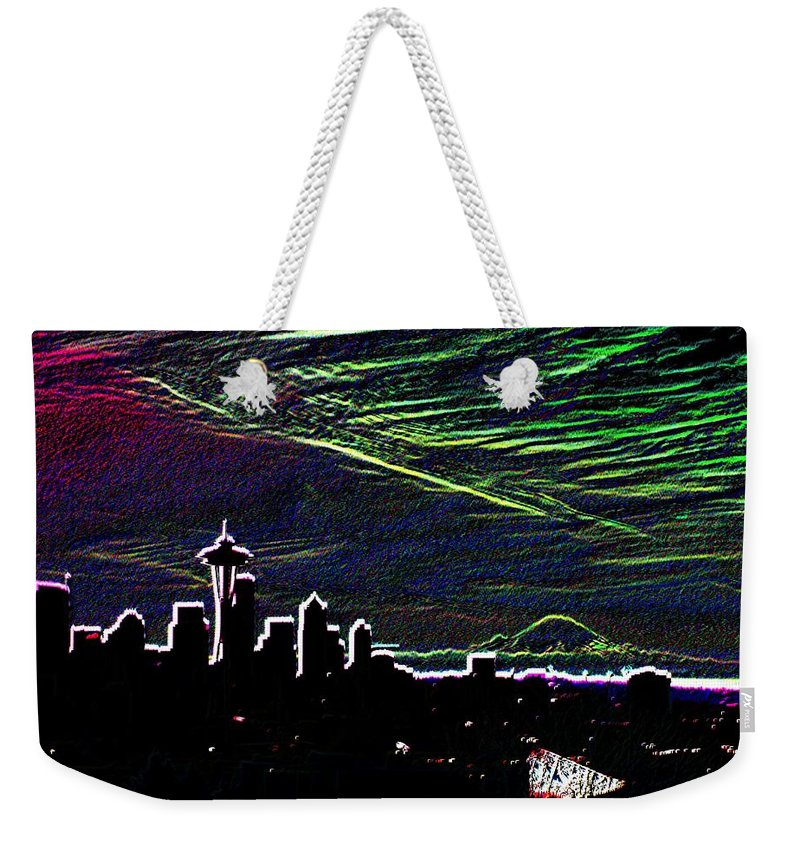 Seattle Weekender Tote Bag featuring the digital art Seattle And Da Mountain by Tim Allen