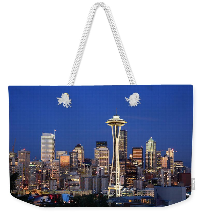 3scape Photos Weekender Tote Bag featuring the photograph Seattle At Dusk by Adam Romanowicz