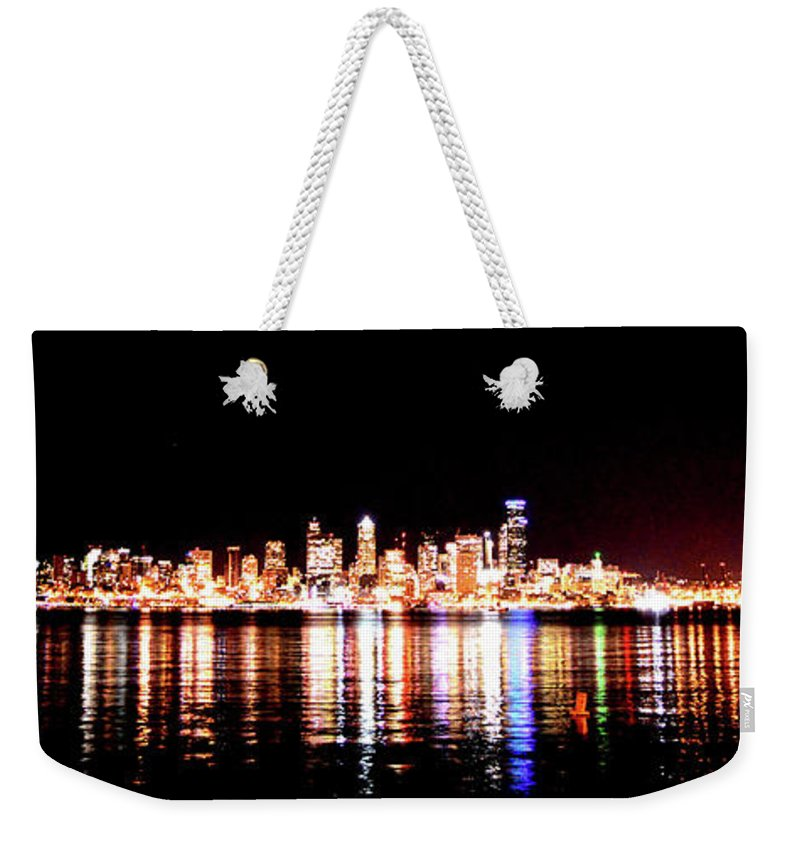 Weekender Tote Bag featuring the photograph Seattle At Night - From Alki Beach by Brian O'Kelly