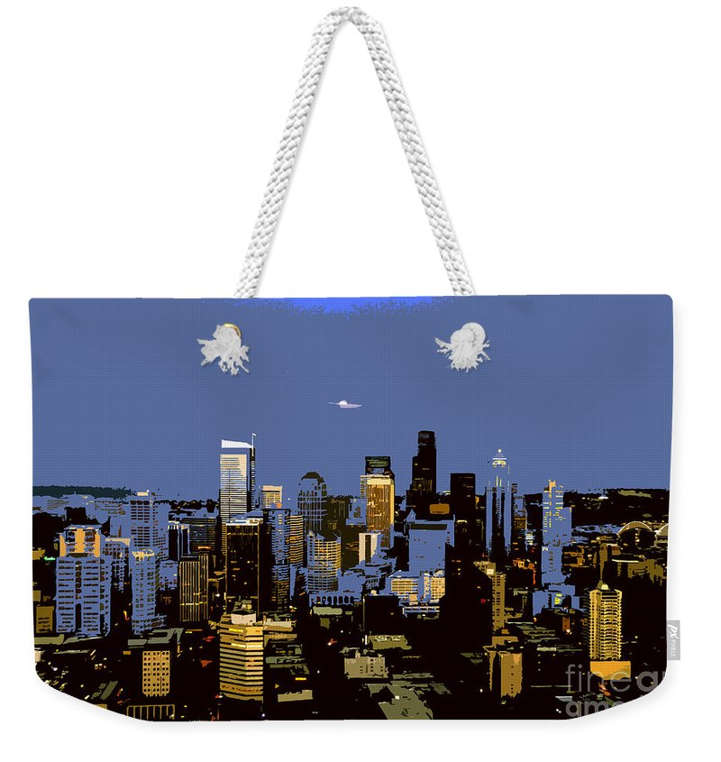 Seattle Washington Weekender Tote Bag featuring the painting Seattle City by David Lee Thompson