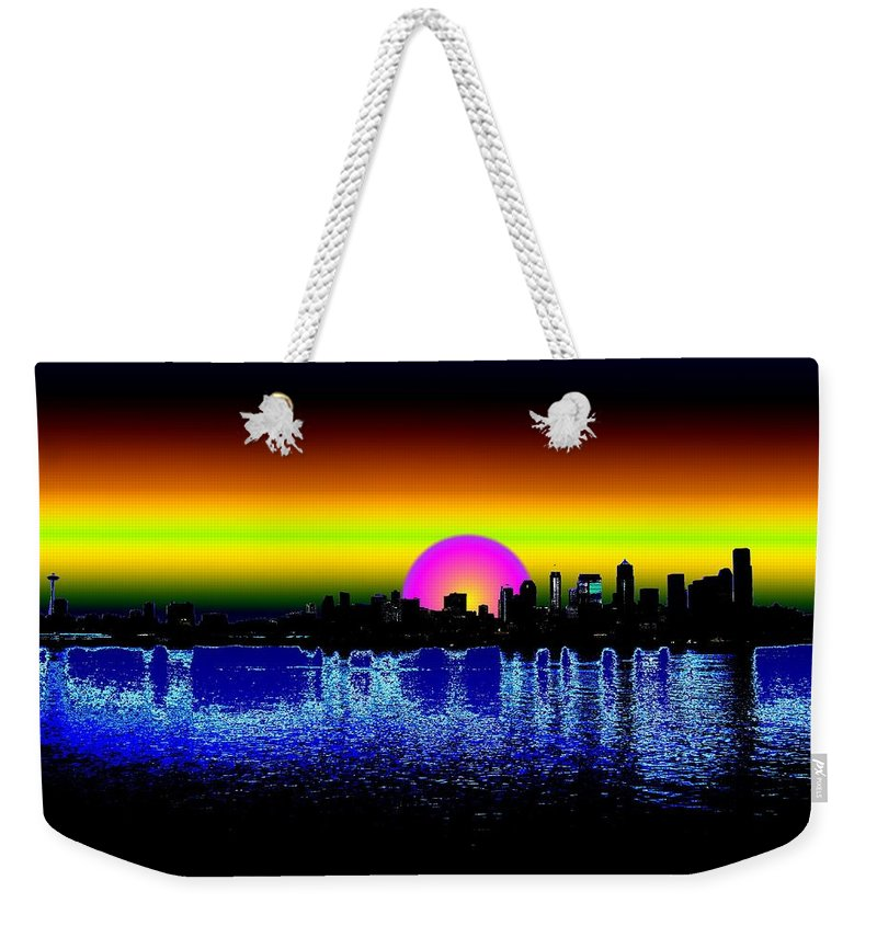 Seattle Weekender Tote Bag featuring the digital art Seattle Dawning by Tim Allen