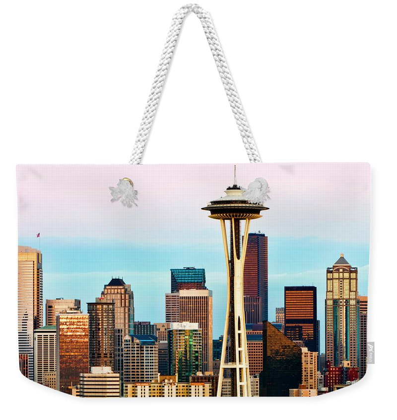 Seattle Weekender Tote Bag featuring the digital art Seattle Daylight by Janet Fikar