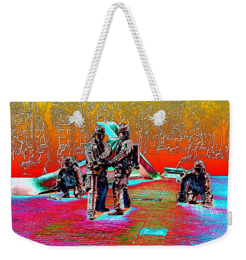 Seattle Weekender Tote Bag featuring the digital art Seattle Fire Fighter Memorial by Tim Allen